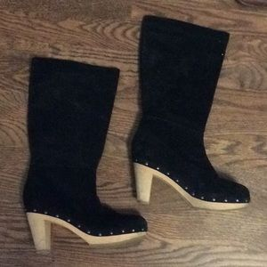 Black suede boots with nailhead detail